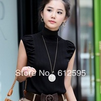 Brand new girl/women's summer/autumn black slim all-match turtleneck knitted T- shirt cut puff sleeve vest basic T-shirt