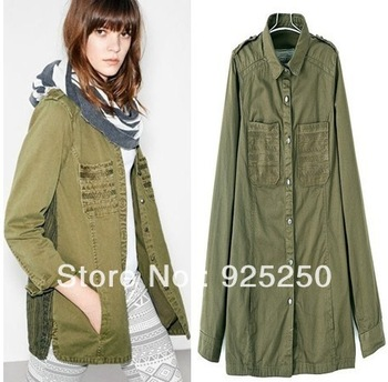 army green  jacket women autumn winter  fashion  military coat vintage canvas  cotton patchwork long sleeve  garment dyeing