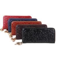 Wallets Women's genuine leather Rose flower embossed wallet clutch zipper organizer wallets genuine leather women's purses