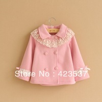 wholesale kids spring/autumn outwears jacket/coat for girls solid color children's long sleeve lace coat 4 color
