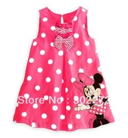 Hot sale, New baby girl's Minnie sleeveless Dot dress baby sweet dress ,5 pcs/lot