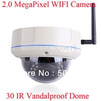 Vandalproof Dome Onvif  2.0 Megapixel 1080P HD 30 IR Outdoor WIFI Network IP Wireless Camera