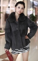 2013 New Arrival Women's Winter Warm Long Sleeve Button Embellished Fox Fur Coat Grey Sent from Russia