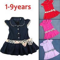 Baby Girls  Dress Plaid Print 100% Cotton Brand Children Girl  Princess/Party Dresses New Spring Autumn 2014 Kids Costumes