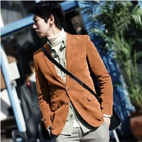 Men's single breasted corduroy Jacket Korea style slim jacket for young man all match fashion coat