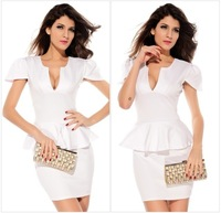 Free Shipping Dresses New Fashion 2013 Short Sleeve V-neck Women's Black/White Mini Club Wear Sexy Party Dress