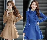 2013 autumn and winter female woolen overcoat medium-long skirt woolen material outerwear top