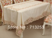 Free shipping No.314 hollow Polyester  embroidered table cloth pink flower color for home hotle(150*220cm)for home hotel wedding