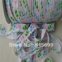 Popular baby feet print FOE elastic ribbon100yards/roll  5/8 inch