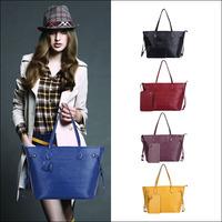 2014 New Brand Fashion Style Patchwork Genuine Leather Women Handbag Large Shoulder Messenger Bag Tote Send Wallet NO368