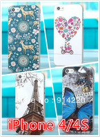 2013 New Fashion Tower deer love butterflies Spring Matte Mobile Phone Protective Shell Cases Phone Cases For iPhone 4/4s