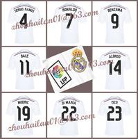 2014-15 Spanish League Real Madrid home soccer jersey top Thai version  T-shirt BALE # 11 ISCO #23  Sergio Ramos# 4  Ronaldo # 7