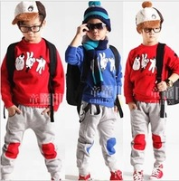 2015 new autumn children clothing child clothes set  baby boy & girl sport out wear set rock paper scissors print  jacket +pants