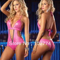Super sexy pink lingerie Sexy Halter gather T files suit S68865