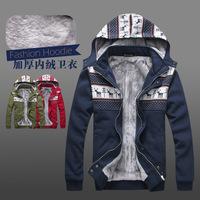 Christmas deer stitching plus velvet warm winter  men's hoodie sweater sportswear essential men's cardigan jacket Free Shipping