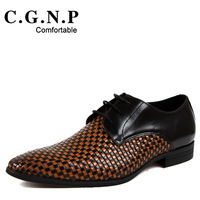 size37-44 fashion men's pointed toe korean trend of totem color block genuine leather tidal current grid casual dress shoes