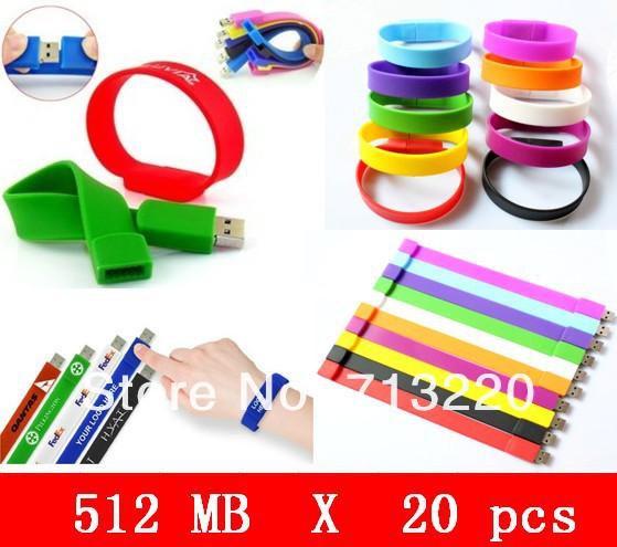 20pcs wholesell 512MB Custom LOGO Bracelet USB Flash Drive,Flash Memory USB Flash Disk,Pen Drive Shipping!(China (Mainland))