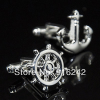 Free Shipping High Quality Brass 2013 Argola Best Novelty Gift Silver Anchor Cufflinks