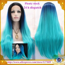 Free shipping ombre turquoise silky straight synthetic lace front wig heat resistant fiber blue green ombre tone wig(China (Mainland))