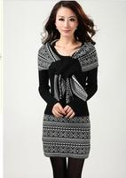 Free Shipping 2014 women's cashmere sweater Dress, medium-long  thickening  plus Pullover Femal sweater+Scarf  S M L XL XXL XXXL