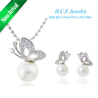 Free Shipping Warehouse Price 2013 Christmas Gift New Set Olay Crystal Butterfly Pearl Earrings Necklace Ffashion Jewelry set