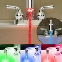 Hot Sale!home kitchen 3 Color Water-Tap Temperature Sensor Faucet RGB Glow Shower Colorful LED Light,free shipping