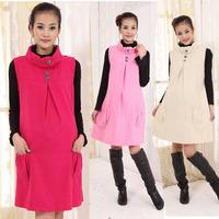 Winter Dresses Maternity Wool Blends Dress for Pregnant Women Sleeveless Turtleneck Sundress 2015 Spring Autumn Gravida Clothing