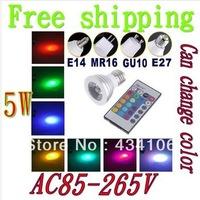 Free Shipping  Hot Sale 1X Energy Saving 4w/5W GU10 E27 MR16 RGB E14 LED Bulb Lamp light Color changing IR Remote