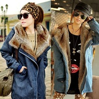 2013 Winter Women's Cool Denim Coat Long Section Large Size Thicken Overcoat Fashionable Warmth Down&Parka Wholesale!