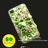 HOT Luxury 3D Bling Green Flower with Swarovski Elements Crystals High Quality Mobile Phone Covers Cases for Apple iPhone 5 5s