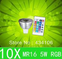 10pcs RGB 5W wireless remoted control 16 color change LED Spot light lamp MR16 G10 E27 Good quality