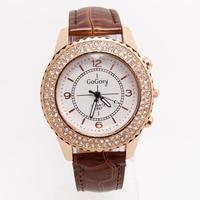 2015 New Arrival Hot Sales Gogoey Brand Crystal Leather Watch Women Ladies Fashion Dress Quartz Wristwatches GO001