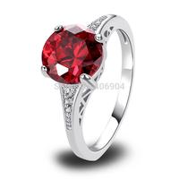 Wholesale Fashion 925 Silver 10*10mm Round Cut Garnet & White Topaz 925 Silver Ring Size 6 7 8 9 10 11 12 Love Style Gift