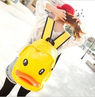 girl's yellow duck printed large double backpack canvas casual student school bags 2013