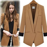 2013 New Autumn Fashion Women Blazer Turn-down Collar Slim Handsome Suit Jacket geometry Thick Plus size Free shipping WT1214