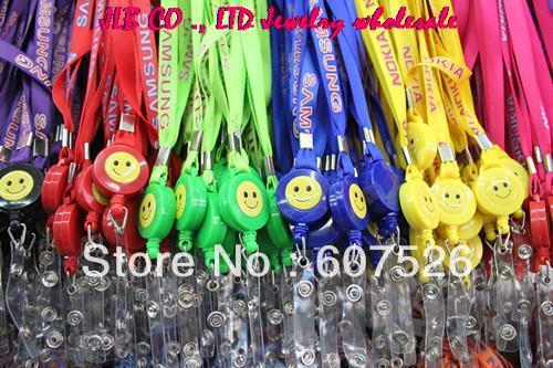 JLB 1.2cm*45cm 50pcs/lot Mix Color Cell Phone Moblie Chain Straps Charm Cords DIY MP3/4 U flash disk phone Neck Straps Lanyard(China (Mainland))