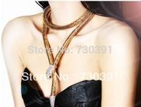 Free shipping Fashion Golden Chain Long Snake White Rhinestone Bib Pendant Necklace