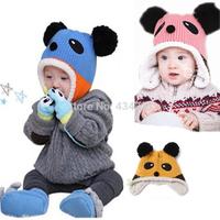 Hot sale 2014 winter children accessories baby boy girl panda knitted cap kid warm ear protector plus velvet thermal crochet hat