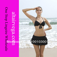 2013 New,Sexy Three-piece Beachwear,Skirt Bottom,S-2XL,2 Colors,Hard Cup and Have Liner,Swimwear Authentic,Quality Assurance
