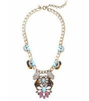 Minimum Order $20 (mixed order)   Fashion glass crystal Tortoise turquoise statement  flower short design necklace
