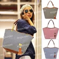 Hot Style Pretty Lady's Tassel Canvas Shoulder Bag Tote Handbag Hobo Satchel Free Shipping 1pcs/lot