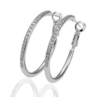 White Gold Plated Miro CZ Pave Hoop Circle Earrings Make with Swarovski Element Crystal for Women  Free Shipping
