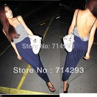 Super Sexy Women Open Back Backless Dot Spaghetti Strap Casual Maxi Long Dress 3076