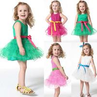 Girls Princess One Piece w/Belt Tutu Dress Cotton Clothing Size 1-6Y Free Shipping&Drop Shipping