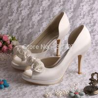 Custom Make Elegant Fashion White Rose Flowers Two-piece Slip On Wedding Bridal Shoes High Heel