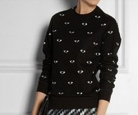 2013 fashion  autumn women men  print eyes men and women long-sleeve  sweater  sweat pullover black