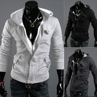 2013 men hooded cardigan leisure coat hoodie sweater style of men's jacket is free shipping