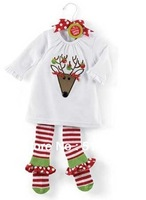 2013 Xmas Clothing Set (T-shirt+Pants),Baby Girls Cotton Striped Elk Embroidered Suit 1-5 Yrs 5 Set / Lot