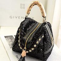 2014 Paillette Rhinestone Tassel For Women Handbag Bolsas Femininas Bolsos Mujer Shoulder Messenger Crossbody PU Hand Bag S274