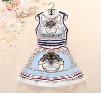 Free shipping wholesale New Autumn women's the baroque wind vest abstract printing mini dress S6393
